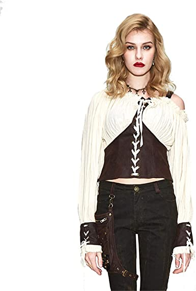 Devil Fashion Steampunk Camisa Boho para Mujer Estilo Campesino Victoriano - - XX-Large: Amazon.es: Ropa y accesorios