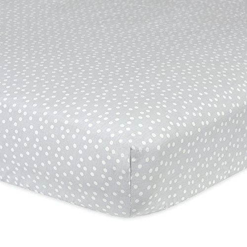 - Gerber 100% Cotton Fitted Crib Sheet, Gray Dots