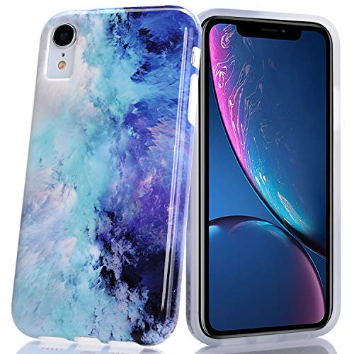 (BAISRKE Blue Mint Opal Marble Design Slim Flexible Soft Silicone Bumper Shockproof Gel TPU Rubber Glossy Skin Cover Phone Case for iPhone XR 6.1 inch (2018))