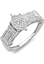 0.30 Carat (ctw) Sterling Silver Round Diamond Ladies Promise Ring Marquise Shaped Center Frame 1/3 CT