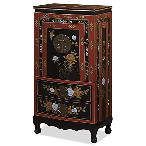 ChinaFurnitureOnline Tibetan Jewelry Armoire, Hand Painted Floral Motif with Bird and Flower Red and Black - Armoire Floral Jewelry