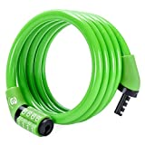 Etronic Security Lock M4 Self Coiling Cable Lock, 4-Feet by 5/16-Inch, Green