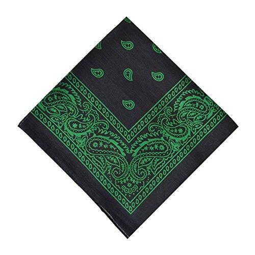 Cotton Bandanas, 6 Pack Multifunctional Headband Bandana for Daily Use,Black&Green -