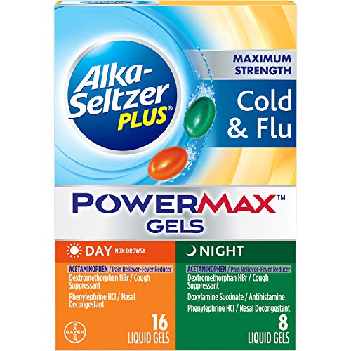 Alka-seltzer Plus Maximum Strength Cold & Flu Power Max Gels Day + Night, 24 Count