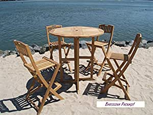 """Windsor's 5pc Genuine Grade A Indonesian Plantation Teak Counter Set, 39"""" Round /70lbs Folding Dropleaf Counter Table and 4 Folding Counter Chairs, Counter Height is 5"""" Lower Than Bar. Assembled"""