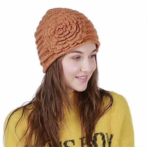 TTjII Twist Pleated Hair Wrap ,Abbey Cap Women's Knit Chemo Hat Snood Beanie , Women's Knit Slouch Adjustable Handmade Party Round Pattern Fur Pom Pom (orange) Knit Beanie Hat Patterns