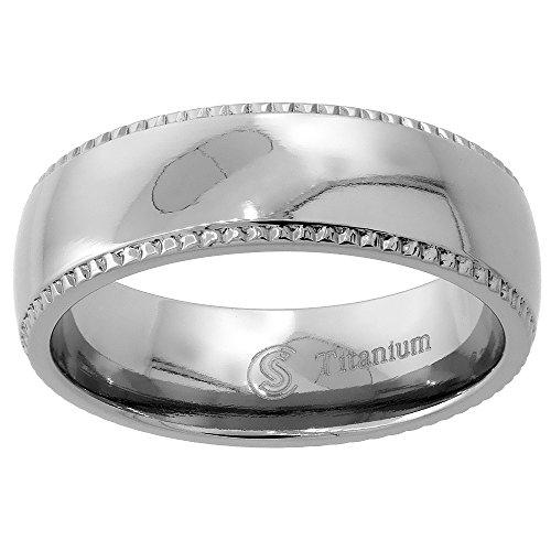 Titanium 7mm Milgrain Wedding Band Ring Highly Polished Domed Comfort Fit, size - Tiatanium