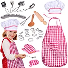 32 PCs Chef Dress Up Clothes for Little Girls, Play Kitchen Accessories Set for Kids, Cooking and Baking Tools, Pretend Play, Birthday Gifts