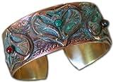 Egyptian Lotus Hearts Cuff Bracelet- Carnelian, Malachite, Turquoise