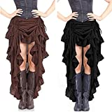 maket Victorian Stylish Steampunk Dresses Renaissance Ruffle Dance Layered Long Skirt(Brown,XL)