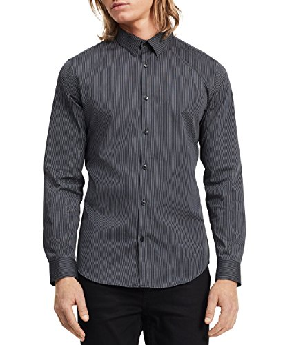 - Calvin Klein Men's Slim Fit Stripe Long Sleeve Non-Iron Button Down Shirt, Black, Medium