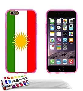 """Carcasa Flexible Ultra-Slim APPLE IPHONE 6 / 6S de exclusivo motivo [Bandera Kurdistan] [Rosa] de MUZZANO  + 3 Pelliculas de Pantalla """"UltraClear"""" + ESTILETE y PAÑO MUZZANO REGALADOS - La Protección Antigolpes ULTIMA, ELEGANTE Y DURADERA para su APPLE IPHONE 6 / 6S"""