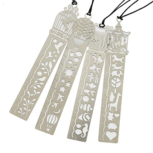 (Petift Metal Bookmark Ruler Set of 4,Stainless Steel Hollow Cute Drawing Template Painting Stencil for Art Craft/DIY Photo Album/Notebook/Diary, Great Gift for Kids Students Writer and Reader)