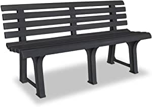 Festnight 3 Seater Outdoor Garden Bench Patio Porch Chair Seat with Backrest Solid Plastic Frame Construction Courtyard Decoration Park Furniture 57.3 x 19.3 x 29.1 Inches (W x D x H) (Anthracite)
