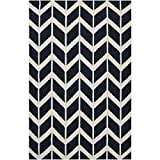 2' x 3' Chevron Pathway Federal Blue and Winter White Wool Area Throw Rug