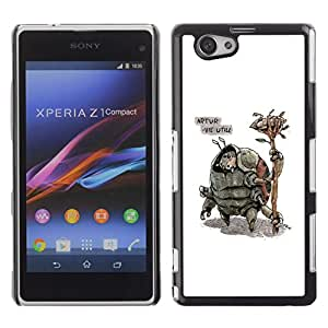 FlareStar Colour Printing Alien Creatures Monsters Drawing Art cáscara Funda Case Caso de plástico para Sony Xperia Z1 Compact / Z1 Mini / D5503