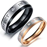 """3Aries Titanium Stainless Steel """"You Are perfect in my mind"""" Clean Crystal Black&Silver Men Wedding Couple Ring Size 9"""