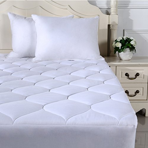 Quilted Fitted Mattress Pad Featuring Nanotex Coolest Comfort Temperature Regulating Cooling Technology. Super Soft SPA Grade Microfiber. Guaranteed to Fit Up to 18 Inch Mattress (Queen Size) by Snuz (Image #4)