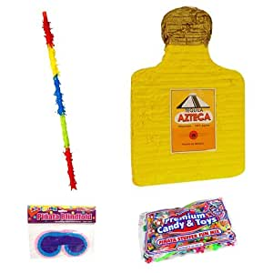 Tequila Bottle Pinata Kit Including Pinata, Buster Stick, Blindfold, 2 lb Toy and Candy Filler