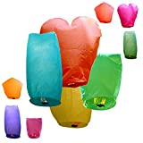 Just Artifacts 10 ECO Wire-free Assorted Chinese Flying Sky Lanterns (10-Pack, Assorted Shapes & Colors) - 100% Biodegradable, Environmentally Friendly!