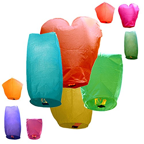 Just Artifacts 10 ECO Wire-free Assorted Chinese Flying Sky Lanterns (10-Pack, Assorted Shapes & Colors) - 100% Biodegradable, Environmentally Friendly! by Just Artifacts