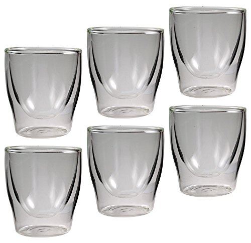 Feelino Bloomino doppelwandige Espresso-Gläser, 6er-Set 80ml Thermo-Gläser mit Schwebe-Effekt im Geschenkkarton, 6x 80ml