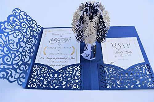 Pop up Wedding Invitation Pocket-Folds with Envelope. Unique and Elegant Laser Cut 3D Design by Tada Cards ... (Navy Blue Vintage (10-Pack)) ()