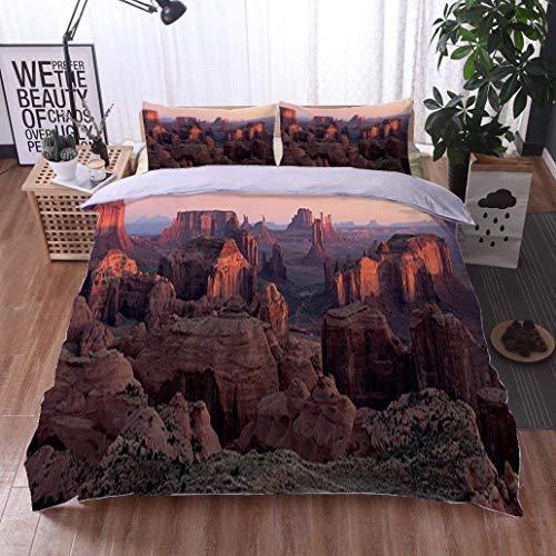 VROSELV-HOME Bedding Sets Duvet Cover Set,Monument Valley Hunts Mesa Panorama,Soft,Breathable,Hypoallergenic,Bedspreads Beach Theme Quilt Cover Children Comforter Cover (Mesa Set Comforter)