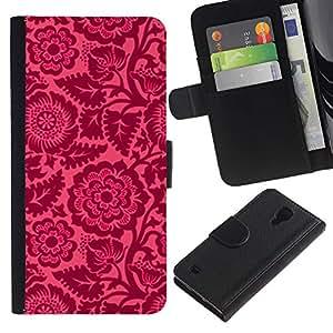 A-type (Floral Pink Petals Wallpaper Vintage) Colorida Impresión Funda Cuero Monedero Caja Bolsa Cubierta Caja Piel Card Slots Para Samsung Galaxy S4 IV I9500