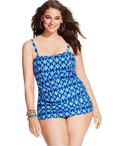 c32f986dd43 Jessica Simpson Women s Plus-Size Navajo Front Shirred Bandeau Swim Dress