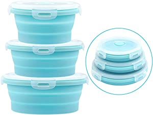 URBEST Collapsible Bowls, Silicone Food Storage Containers with Lids for Camping, Set of 4 Round Silicone Lunch Containers, Microwave and Freezer Safe (Blue, 3)