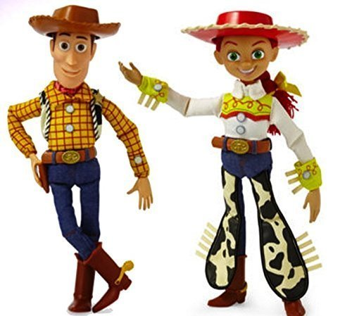 Disney Toy Story Collection Woody Jessie Talking Action Figure Bundle 16''. Perfect Gift for You Child (Woody Pull String)