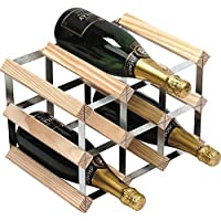 RTA 9 Bottle Wine Rack 3x2 Natural Pine Galvanised Steel Ready Assembled - WNRK0013