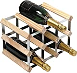 RTA 9 Bottle Traditional Wooden Wine Rack Self Assemble Kit - Natural Pine Wood / Galvanised Steel – 3 x 2