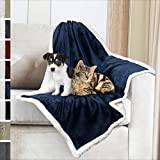 Premium Sherpa Dog Blanket | Pet Throw Blanket for Puppy, Small Dog, Medium Dog or Cat Kitten | Reversible, Soft, Lightweight Microfiber Throw - 30 x 40 Inches (Navy Blue)