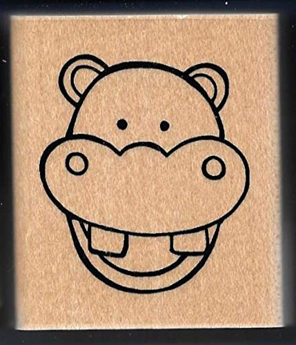 Rubber Ctmh Stamps - Rubber Stamp Frames Hippo Hippopotamus FACE Zoo Jungle Animal JRL Design CTMH New Wood Rubber Stamp