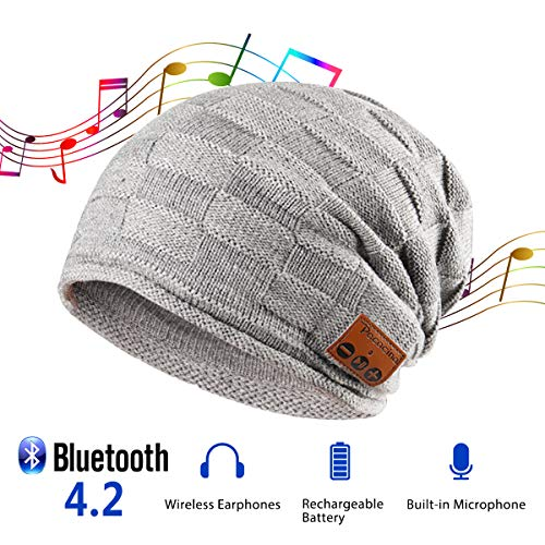 Pococina Upgraded 4.2 Bluetooth Beanie Music Hat Winter Knit Hat Wireless Headphone Musical Speaker Beanie Hat as Christmas Birthday Gifts for Men Women Teen Girls Boys, Built-in Mic - 014 Light Gray