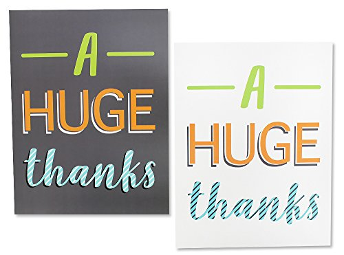 12 Pack Jumbo Thank You Greeting Cards, 6 Assorted Multicolor Designs, Bulk Box Set Variety Assortment, Envelopes Included, 8.5 x 11 Inches Photo #8