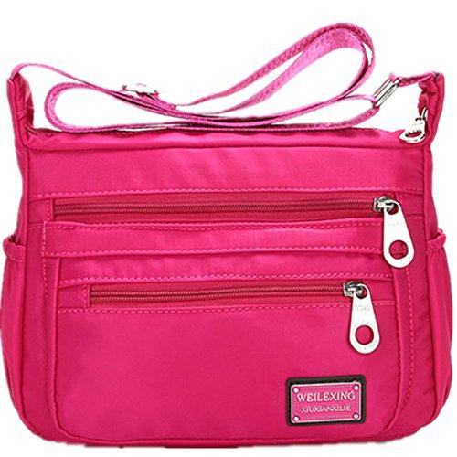 Handbag Lightweight Bags Women Bag Messenger Famous Crossbody Brands Red Shoulder 2 Nylon rose Waterproof 5w4xpzaq6