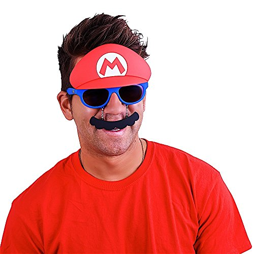 Costume Sunglasses Nintendo Mario Mustache Sun-Staches Party Favors UV400