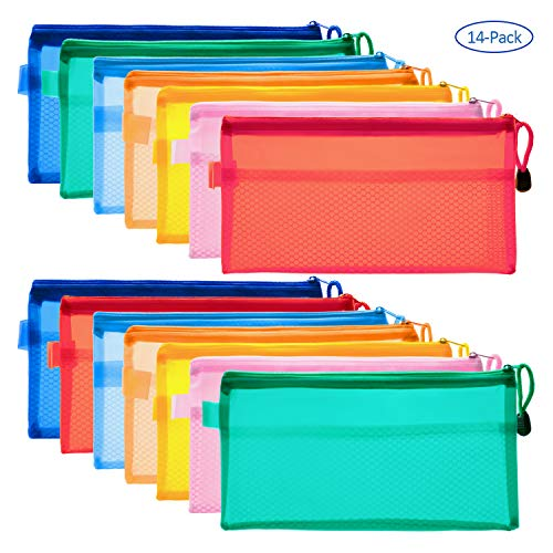 (Canvas Tool Pouches, 14 Pieces Colorful PVC Waterproof Zipper Pouches, Double-Layer Plastic Bags for Pen, Pencil, Cosmetics, Travel Supplies, Pack of 14 (Multicolor))