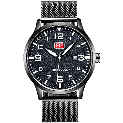 Men's Analog Quartz Watch with Numbers Date Waterproof Black Stainless Steel Mesh Band Fashion Casual Dress Wrist Watches for Men (Nice Big Face Watches)