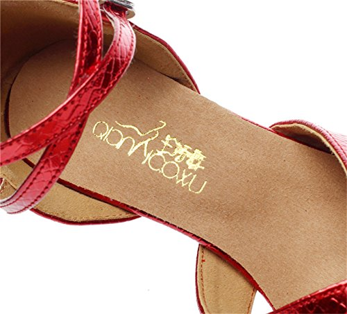 EU40 Latin Tango Dance De Cuero heeled6cm De Our41 JSHOE Jazz Ballroom Samba Shoes 5 Chacha Salsa Heel Kitten Red Shoes UK6 Punta Mujer Modern B7qzn0z