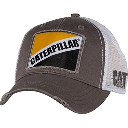 BD&A Caterpillar CAT Equipment Snapback Bro White Mesh Cap/Hat