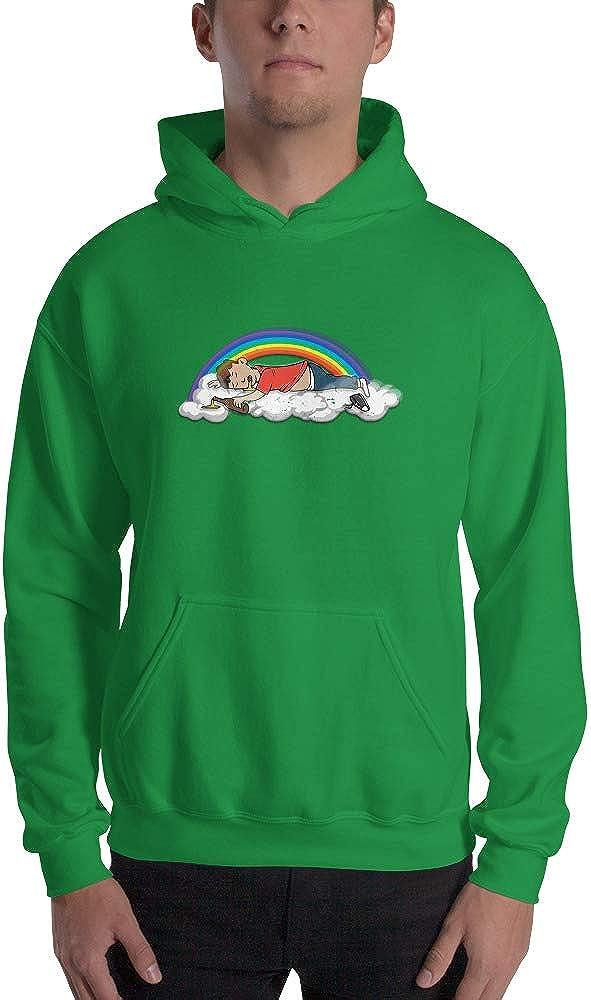 Spicy Cold Apparel Flying High is Rainbow Gildan 18500 Mens Heavy Blend Fleece Classic Fit Hooded Sweatshirt