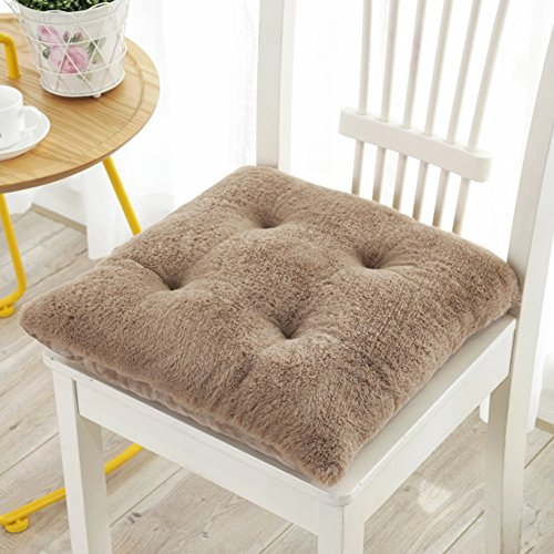 QTQZ Padded plush seat cushion,Winter double student classroom chair cushion office chair pads dormitory cushion cover-B 43x43cm(17x17inch) ()