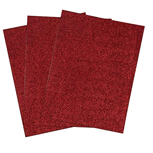 SIMPLY ELEGANT Eva Foam Glitter Sheets w/Adhesive Back - Red - 24 Count