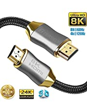 TERSELY 8K HDMI Cable, 3m 10ft HDR 8K 48Gbps 8K@60Hz 4K@120Hz Support HDCP 3D HDMI 2.1 UHD Nylon Net Zinc Alloy Hood Gold Plated Connector Cable for PS4 PS5 SetTop Box HDTVs Projectors