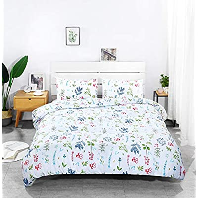 Floral Duvet Cover Set Queen Teen Bedding Soft Microfiber Comforter Cover 90 x 90 Zipper Closure 1 Duvet Cover and 2 Pillow Shams(Queen,Plum): Kitchen & Dining