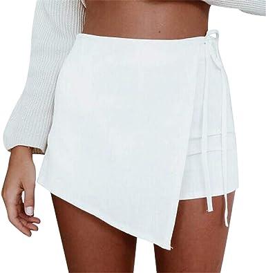 RISTHY Pantalones Cortos de Lino Mujer, Faldas Pantalones ...